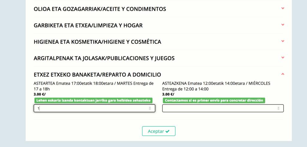En la categoria de REPARTO A DOMICILIO se añade 1 en el recuadro de cantidad. Como cualquier producto.